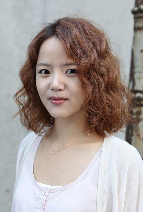 Asian curly hair style