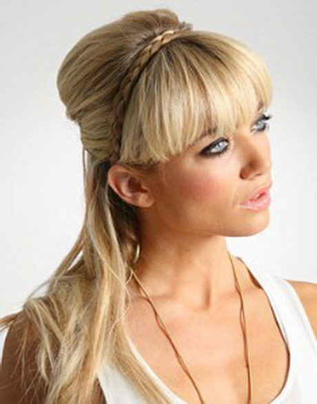 Braided headband hairstyle with bangs