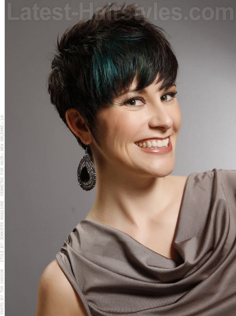 ... Brunette Pixie Haircut with Blue Peacock Highlights – Front View