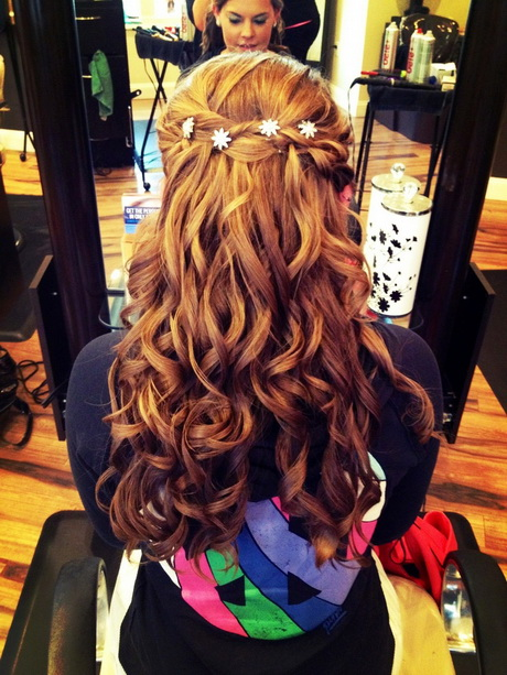 ... Up Half Down Hairstyle with Braid – Prom Curly Hairstyle Ideas 2015