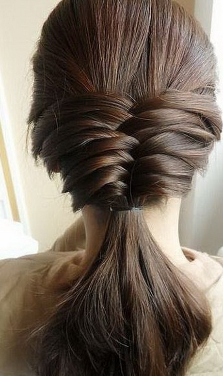 Here is an easy and trendy everyday hairstyle for long length hair ...