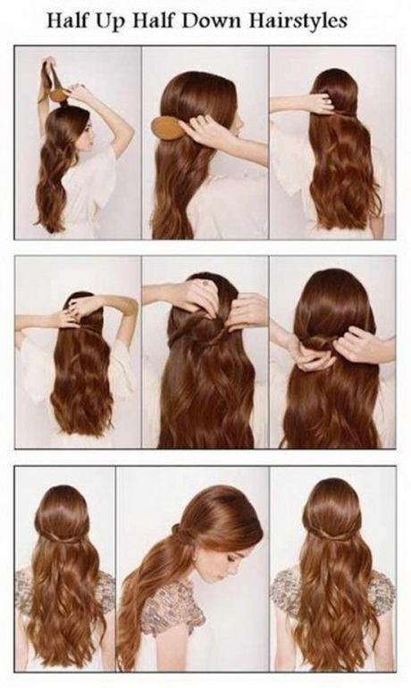 . Caption: Step by step picture to create an easy Half Up Half Down