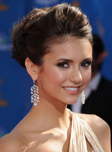 Hair Up Dos : G+ Nina Dobrev Hairstyles: Elegant Bobby Pinned Updo