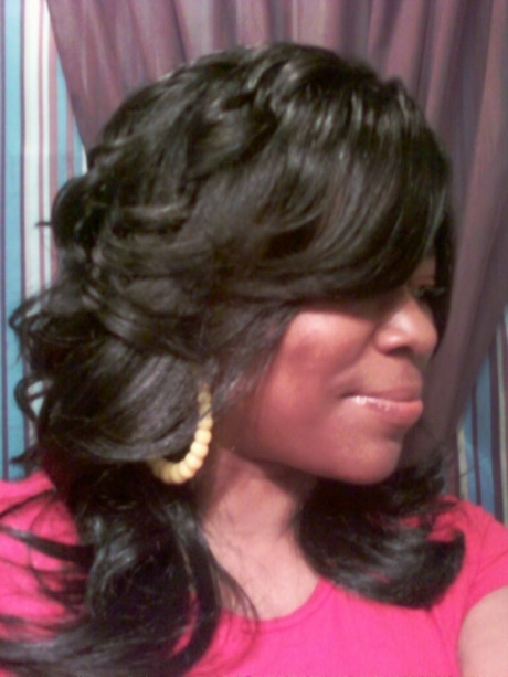 ... Photos - Layered And Feathered Wig Hairstyle For Black Women Kootation