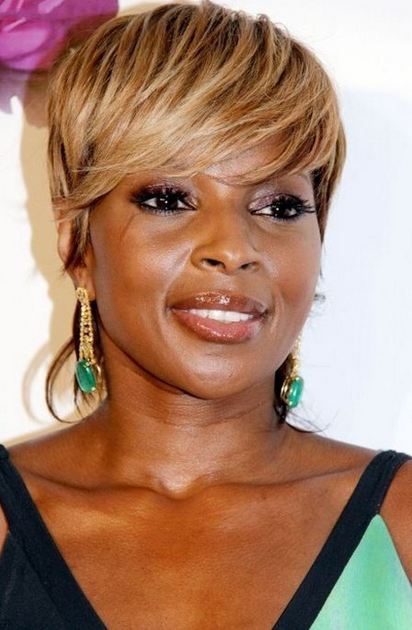 urban short hairstyles : ... Golden Fringe Short Urban Chic Haircut for Afro-American Mary J