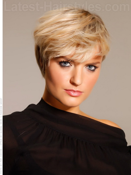 ... girly feel. Pure Blonde Bangs Short Hairstyle For Older Women