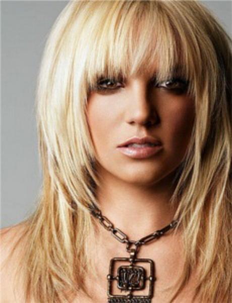 medium blond hair. cut style is increase-layered form. choppy fringe ...