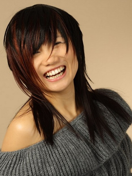 Asian Straight Layered Hair With Side Bangs Long layered choppy ha...