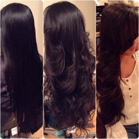 Long v layered haircuts back view