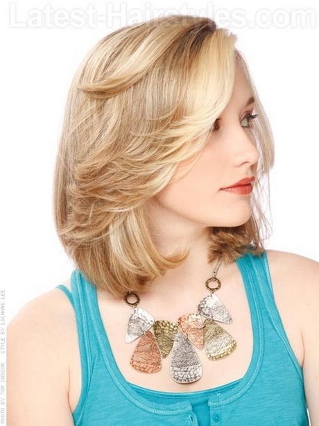 Blonde Bob Medium Style with Cute Flip – Side View. How to Style: 1 ...