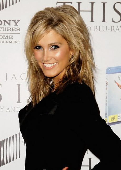 low bun wedding hairstyles : Goodrem Layered Medium Hairstyle with Bangs. Delta Goodrem Layered ...