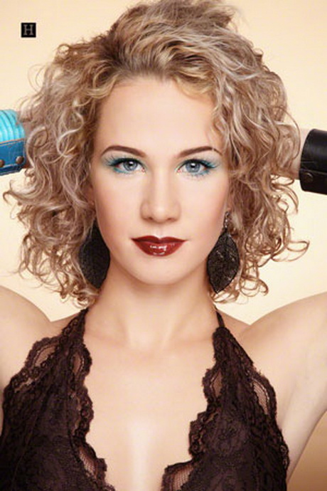 ... with medium length layered spiral perm curly hairstyles blonde hair