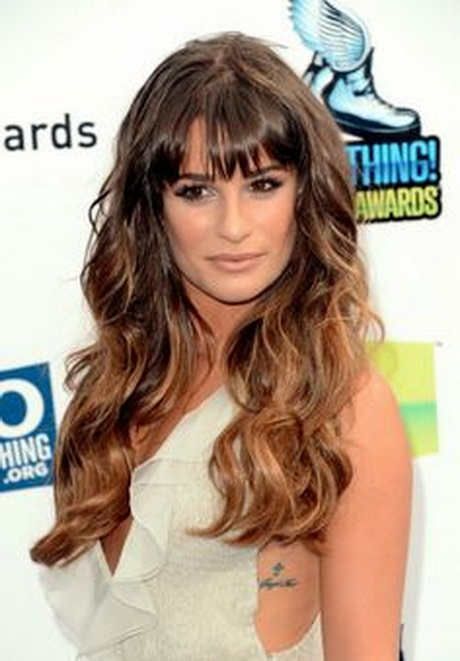 Hairstyle: Wavy Hair with Bangs – Lea Michele's Long Hairstyle
