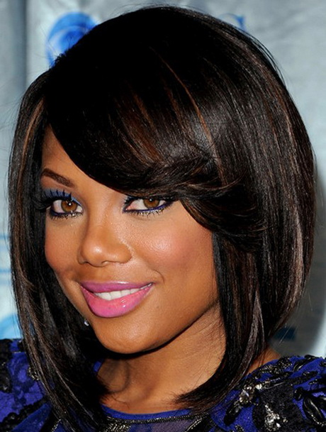shoulder length bob for black round women by rpgshow.com. Asymmetrical ...