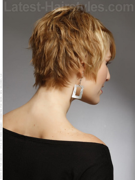 Hairstyles Back View : Blonde Textured Beachy Pixie Short Haircut Back View