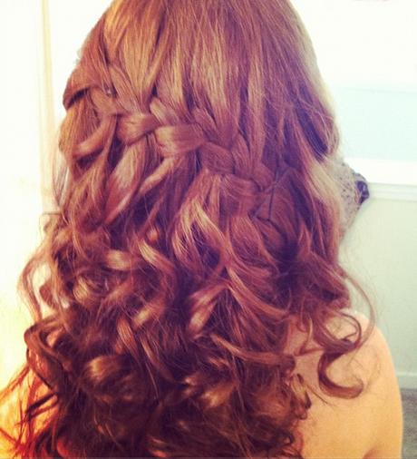 Waterfall Braid With Spiral Curls Prom Hairstyles Cute