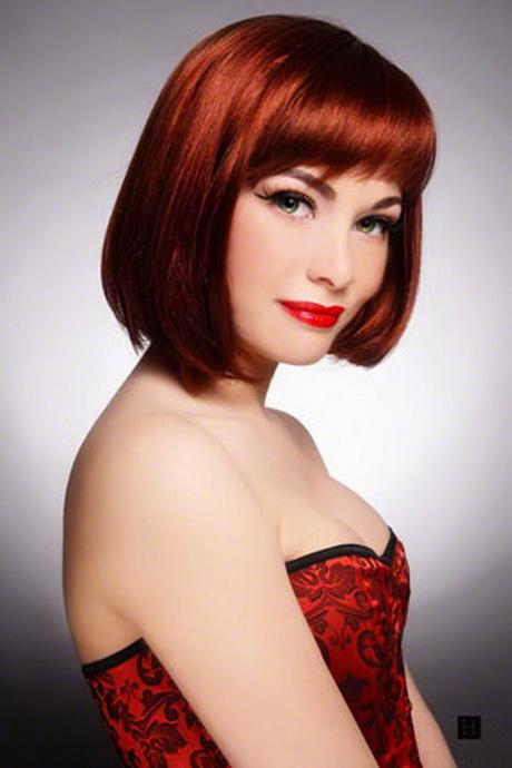 woman with medium length bob hairstyles red hair
