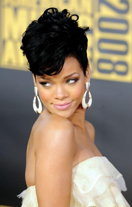 rihanna new hairstyle : Rihanna Short Black Hairstyles 2015 Side Swept Tousled Pixie