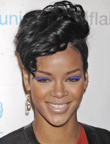 Rihanna Short Curly Hairstyles Rihanna short hairstyl...