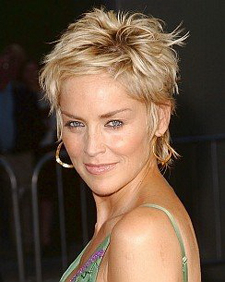 Sharon Stones Tousled Short Punky Pixie Haircut Short