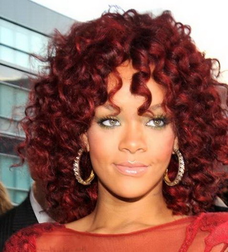 current hairstyle trends : short curly red hairstyle 2010 ama november Rihanna curly red hair ...
