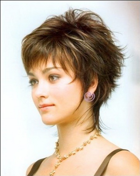 This short layered haircut is a nice change. The different short ...