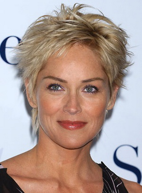 Short Hairstyles for Women Over 50 with Thick Hair An older woman ...