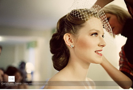 Wedding hair birdcage veil