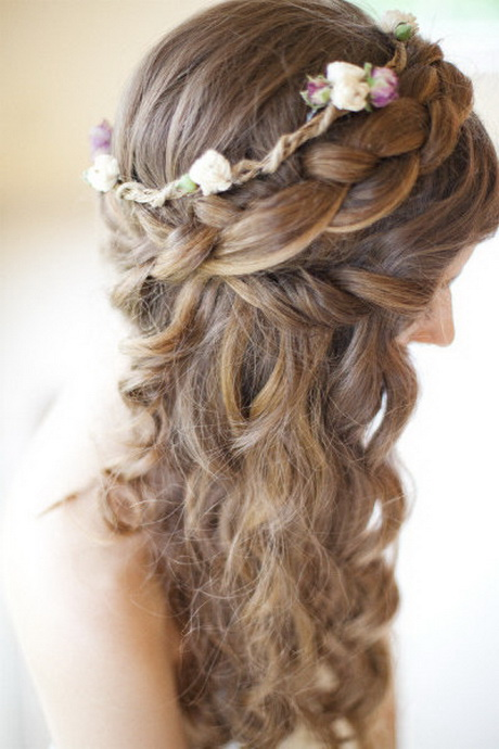 Wedding hairstyles with braids and curls
