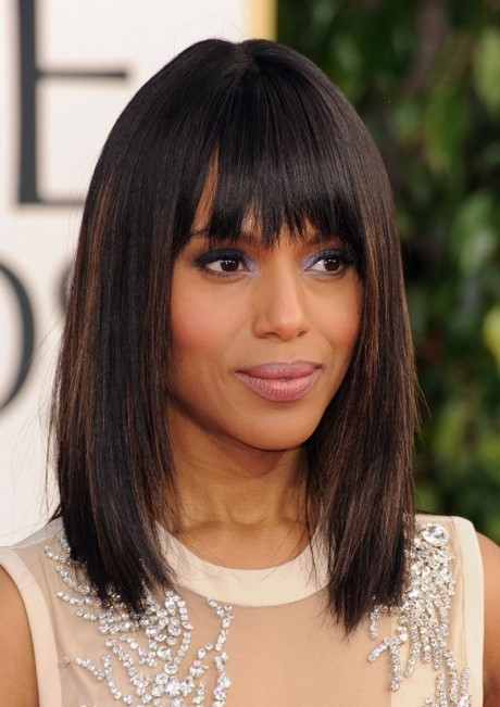 Hairstyles 2017 Medium Length Straight : hairstyles. medium espresso brown lob with straight bangs 2017