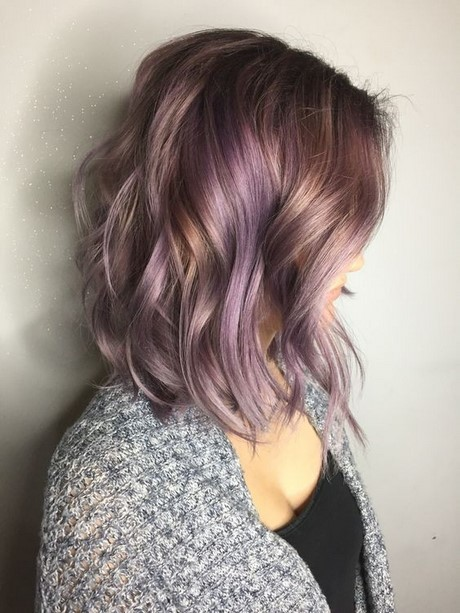 Hairstyles 2017 Women : ... curly hairstyle with smokey lavender hair color medium haircuts for
