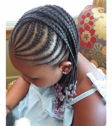 Braided hairstyles for little black girls with different details .