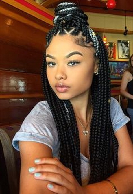 Gray and Black Box Braids Hairstyles