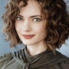 Short curly hair with bangs 2018