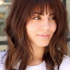 Medium to long layered haircuts with bangs
