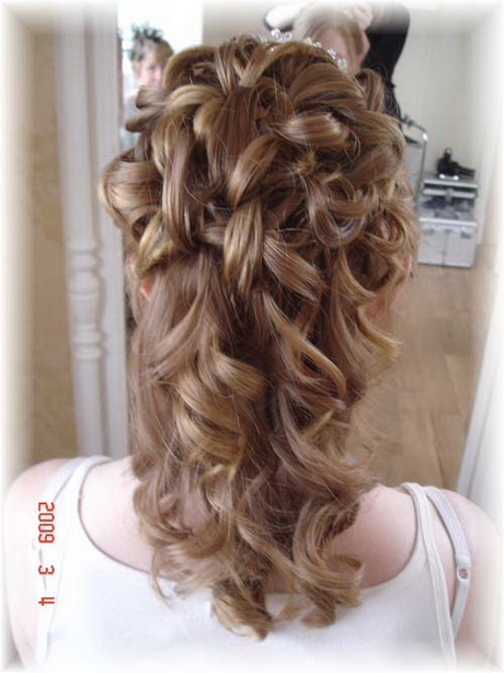 half hair up styles updo with cascading curls hairstylegalleries 5204