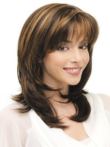 layered haircuts for medium hair with bangs hairstyles and cuts hair with layers and bangs 5445