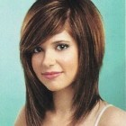 Medium hairstyles with side swept bangs