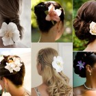 Wedding hair fresh flowers