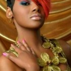 Black short haircuts with color