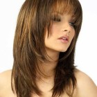 Layer cut hairstyle for round face