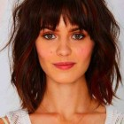 Short hair with bangs round face