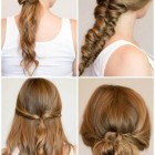 Easy partial updos for long hair