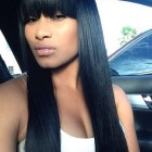 Straight hair with bangs weave