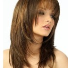 Long layered hair with fringe