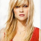 Layered hairstyles for long hair with side fringe