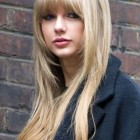 Long straight hairstyles with fringe